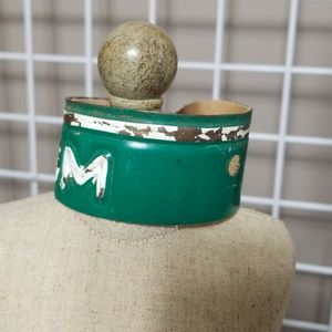 Jewelry - Vintage License Plate Bracelet Cuff Green/White